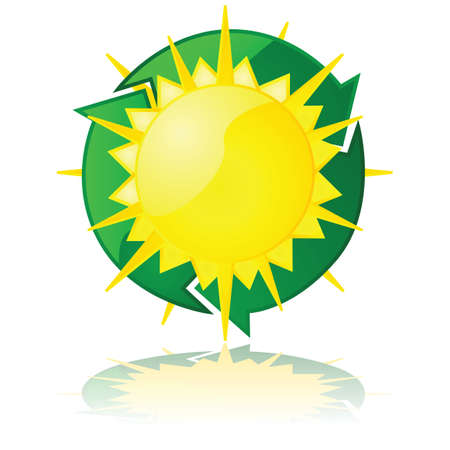 Glossy illustration showing a sun with a recycling sign around it, for renewable solar power Stock Vector - 16464325