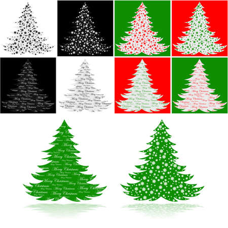 Illustration showing a couple of Christmas trees, one with snowflakes and the other with the message Stock Illustration - 16464329