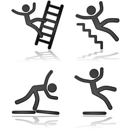 lesiones: Ilustraciones icono que muestra una persona que cae en diferentes tipos de situaciones