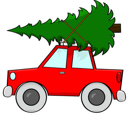 Cartoon illustration showing a car with a pine tree tied to its roof Stock Vector - 16541797