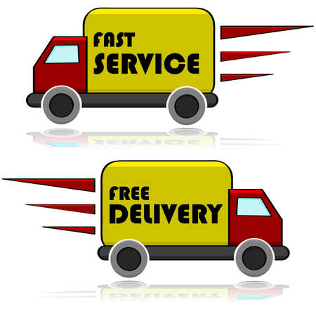 delivery service: Illustration showing a truck with the words