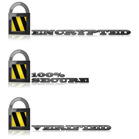 Glossy illustration showing a lock with messages about safety and security of encryption Stock Vector - 16541773
