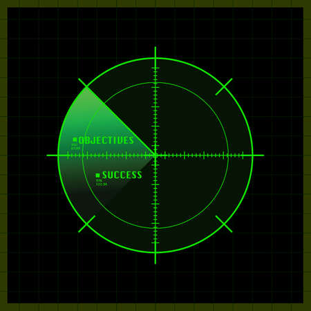 Concept illustration showing a radar screen having just spotted the location of objectives and success