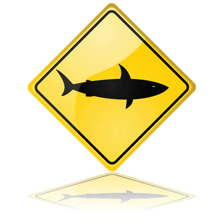 Glossy illustration showing a traffic sign warning about sharks Vector