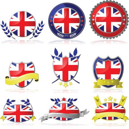 Кнопки: Установить с девятью различными значками для Соединенного Королевства