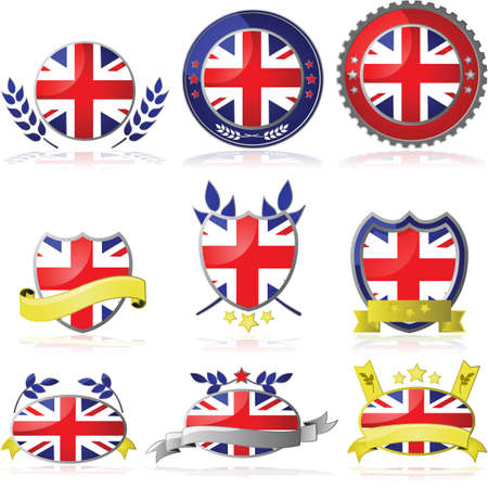 shiny buttons: Set with nine different badges for the United Kingdom Illustration