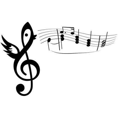 Cartoon concept illustration showing a bird formed from a music notation singing