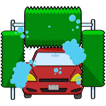 onderhoud auto: Cartoon illustratie van een auto in een wasstraat Stock Illustratie
