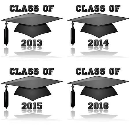 2013、2014年、2015年、2016 年の卒業の帽子と言葉のクラスを示す光沢のあるアイコンの図  イラスト・ベクター素材