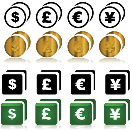 Set of icons showing different currencies Stock Vector - 16616708
