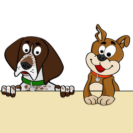 壁を越えて探している犬のカップルを示す漫画図