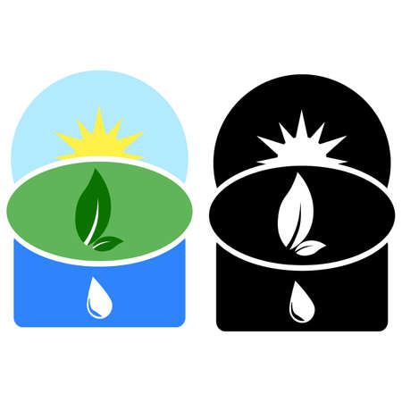Icon showing three different natural elements: air, earth and water Stock Vector - 16616702