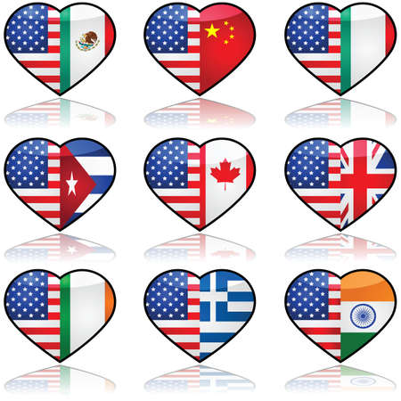 nationalities: Icon collection showing the flag of the United States in a divided heart sharing it with other nationalities that have a significant number of immigrants in the country