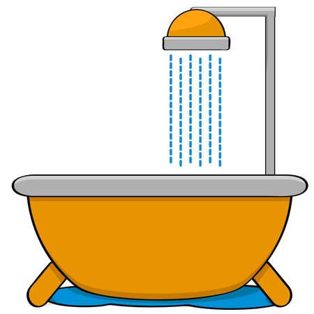 シャワー ヘッド付きのバスタブを示す漫画図  イラスト・ベクター素材