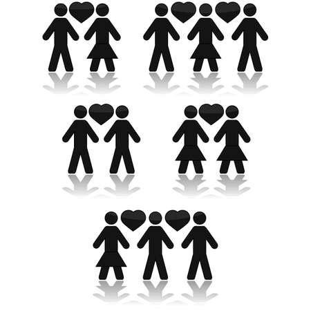 homosexuales: Icono de conjunto que muestran parejas de enamorados, o un triángulo amoroso, con relaciones heterosexuales y homosexuales Vectores