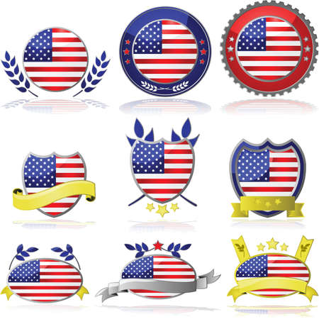 Collection of glossy badges with the flag of the United States Stock Vector - 16693565