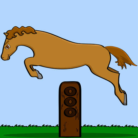 Cartoon illustration showing a horse jumping over an obstacle Illustration