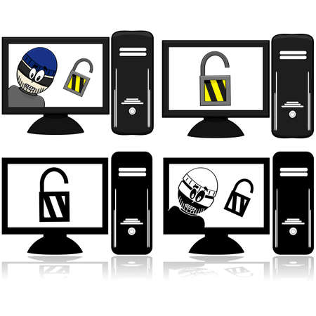 encryption icon: Icon set showing a computer with an open lock and another computer with a thief beside the open lock