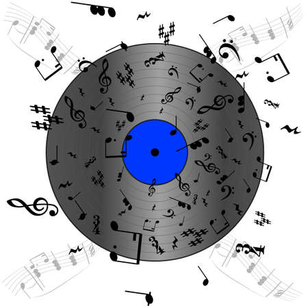 Concept illustration showing a vinyl record with music notes spread around and on top of it