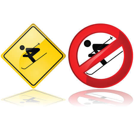 Glossy illustration showing a couple of ski signs one warning about skiing in the area and another saying skiing is not allowed Stock Vector - 16731251