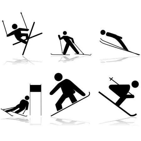 slalom: Ikona ilustracje pokazujące różne sporty zimowe wykonywane na powierzchni śniegu
