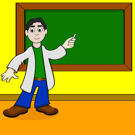 Cartoon illustration showing a teacher pointing at a blackboard with his piece of chalk