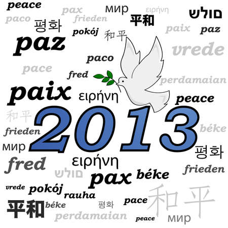 beginnings: Concept illustration showing a peace dove over the year 2013 and the word peace written in different languages Illustration