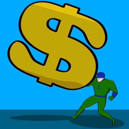 tough man: Cartoon illustration showing a superhero trying to hold off a giant dollar sign
