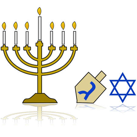 Cartoon illustration showing a Jewish Hanukkah Menorah, alongside a traditional spinning top and the star of David, reflected on a white background