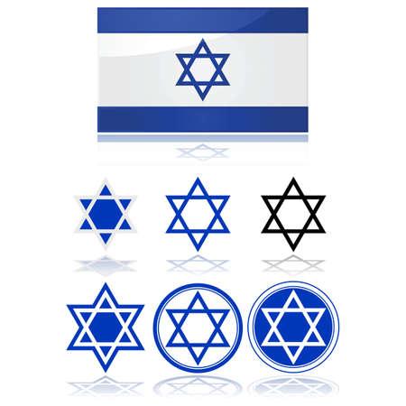이스라엘의 국기와 데이비드 스타의 변형을 보여주는 광택 그림