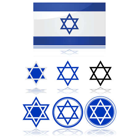 Glossy illustration showing the flag of Israel and variations on the star of David Stock Vector - 16819570