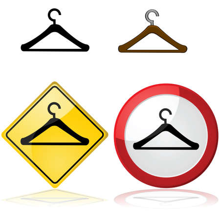 clothes hanger: Icon illustration of a hanger by itself or inside a traffic sign Illustration