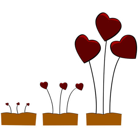thrive: Concept illustration showing little sprouts with a red heart slowly growing over time