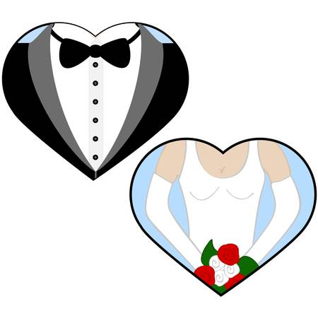 wedding dress: Concept illustration showing a bride and a groom inside hearts