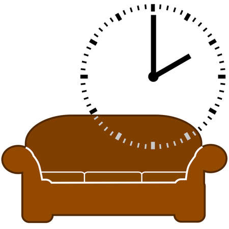 oclock: Concept illustration showing a couch and a dial clock displaying 2 oclock, for nap time