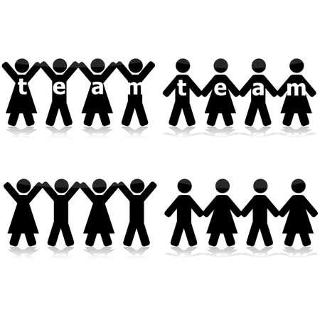 팀으로 그들의 힘을 보여주기 위해 손을 잡고 다른 그룹의 사람들을 보여주는 개념 그림