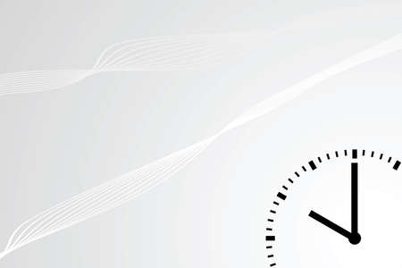 Abstract background with curvy lines and a clock dial in the lower right corner