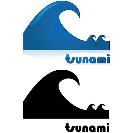Icon showing a big wave after two smaller waves, with the word tsunami under it Stock Vector - 16853966