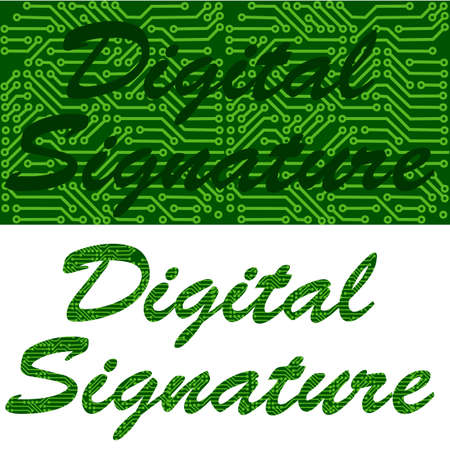 confirm: Concept illustration showing a signature mixed with a circuit board background