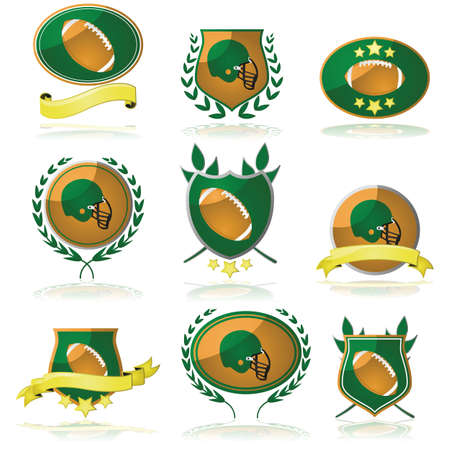 Collection of badges showing an American football or a helmet Vector