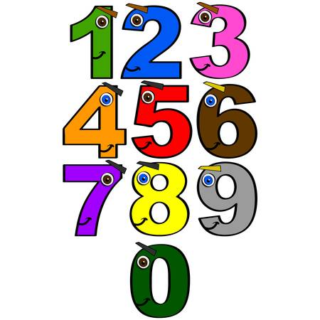 Collection of numbers from 0 to 9 with smiling faces and different colors, great for children learning to count