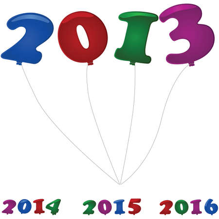 beginnings: Glossy illustration showing colorful number shaped balloons for the new year in 2013, 2014, 2015 and 2016