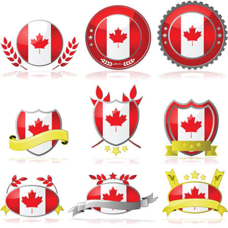 Illustration collection of glossy badges with the flag of Canada Vector