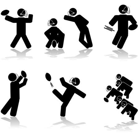 Icon illustrations showing different American football action  Stock Vector - 16936792