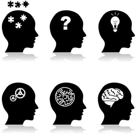 find solution: Icon illustrations showing a collection of heads with different thoughts Illustration