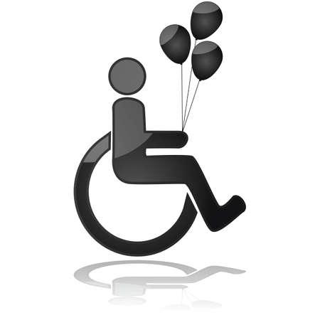 핸디캡: 휠체어를 들고 풍선에 아이를 보여주는 아이콘
