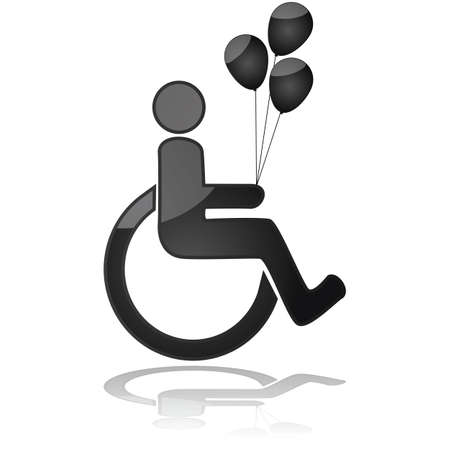 handicapped: Icon illustration showing a child in a wheelchair holding balloons Illustration