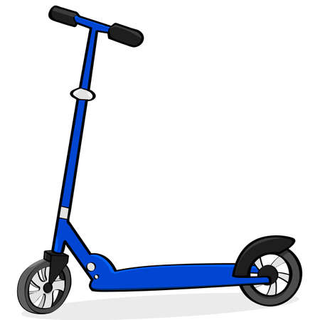 simple: Cartoon illustration showing a simple blue scooter Illustration