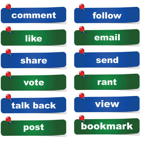 Collection of green and blue social media buttons with different calls to action
