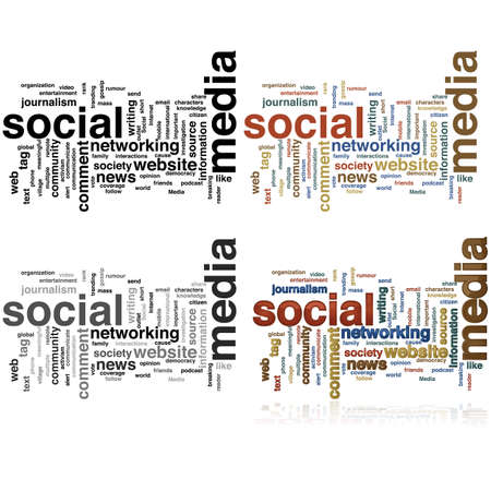 journalism: Word cloud made with social media terms, in four different styles Illustration